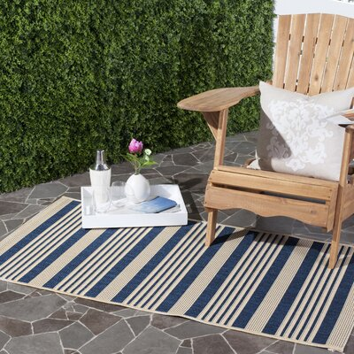 Sophina Navy/Beige Indoor/Outdoor Area Rug Rug Size: Rectangle 2 x 37