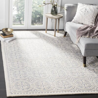 Landen Hand-Tufted Silver/Ivory Area Rug Rug Size: Rectangle 8 x 10