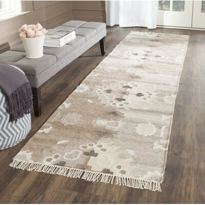 Natural Kilim Hand-Woven Gray/Brown Area Rug Rug Size: Runner 23 x 6