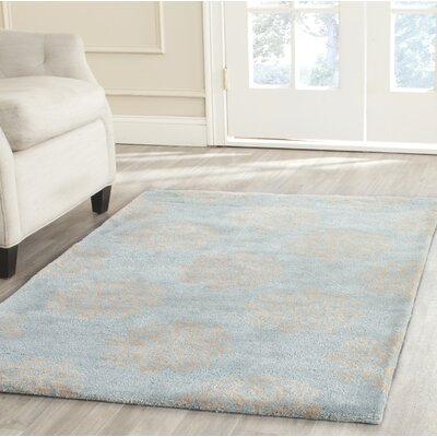 Backstrom Hand-Tufted Turquoise / Yellow Area Rug Rug Size: Rectangle 36 x 56