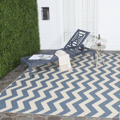 Mullen Blue/Beige Indoor/Outdoor Area Rug Rug Size: Rectangle 2 x 37
