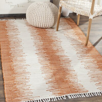 Anchor Hand-Woven Cotton Orange/White Area Rug Rug Size: Rectangle 4 x 6