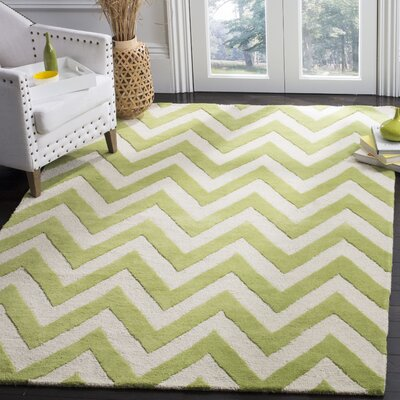 Charlenne Hand-Tufted Green/Ivory Area Rug Rug Size: Rectangle 5 x 8