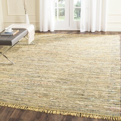 Havelock Contemporary Hand-Woven Cotton Yellow Area Rug Rug Size: Rectangle 8 x 10