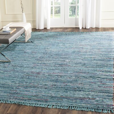 Inkom Hand-Woven Cotton Blue Area Rug Rug Size: Rectangle 5 x 8