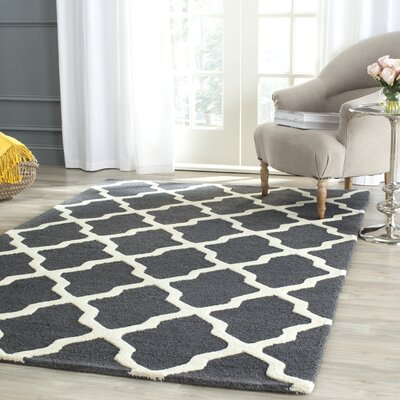 Charlenne Wool Dark Gray/Ivory Area Rug Rug Size: Rectangle 6 x 9