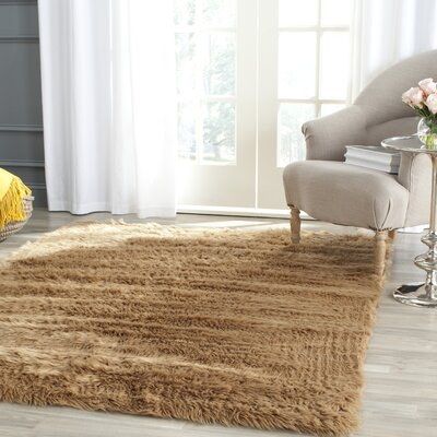 Isacc Hand-Tufted�Faux Fur Brown/Tan Area Rug Rug Size: Rectangle 4 x 6