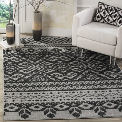 Gatineau Silver/Black Area Rug Rug Size: Rectangle 51 x 76