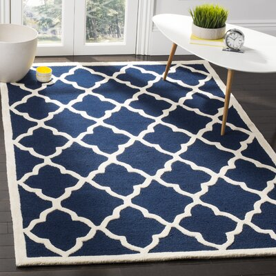 Charlenne Hand-Tufted Navy/Ivory Area Rug Rug Size: Rectangle 4 x 6