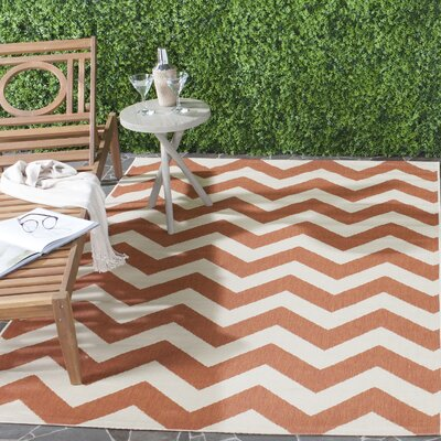 Mullen Terracotta/Beige Indoor/Outdoor Area Rug Rug Size: Rectangle 4 x 57