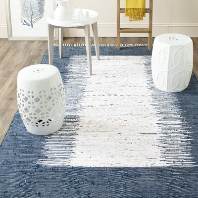 Ona Hand-Woven Cotton White/Navy Area Rug Rug Size: Rectangle 5 x 8