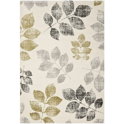 Rosario Ivory/Green Area Rug Rug Size: Rectangle 51 x 77
