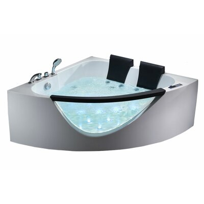 Clear Modern Double Seat Corner 60.63 x 60.63 Whirlpool Bath Tub
