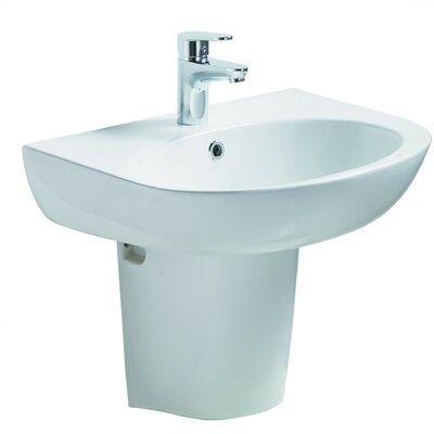 Ceramic 23 Pedestal Bathroom Sink with Overflow