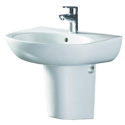 Ceramic 22 Pedestal Bathroom Sink with Overflow