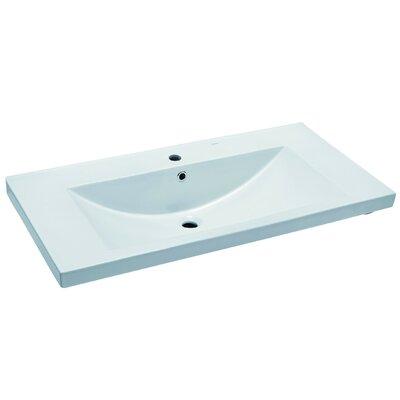Ceramic Rectangular Drop-In Bathroom Sink with Overflow