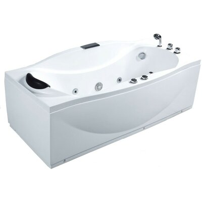 Acrylic Jetted 72 x 31.9 Freestanding Whirlpool Bathtub Drain Location: Right