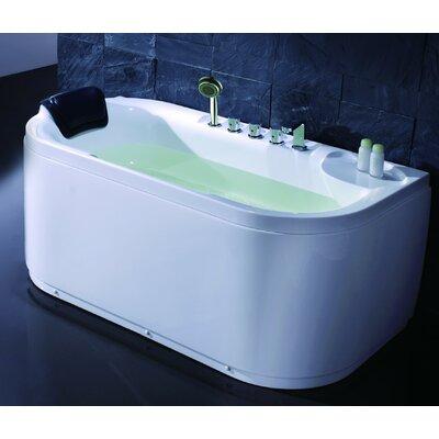 Acrylic 60 x 29.5 Freestanding Soaking Bathtub Drain Location: Left