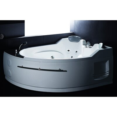 Jetted 66.8 x 52.4 Corner Whirlpool Bathtub Drain Location: Left