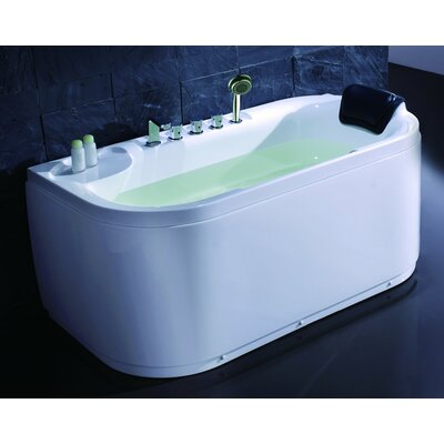 Acrylic 60 x 29.5 Freestanding Soaking Bathtub Drain Location: Right