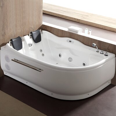 70.9 x 47.25 Corner Whirlpool Bathtub Drain Location: Right