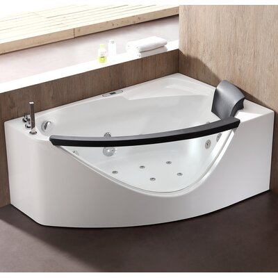 Rounded 59 x 39.4 Corner Whirlpool Bathtub Drain Location: Left