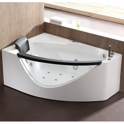 Rounded 59 x 39.4 Corner Whirlpool Bathtub Drain Location: Right
