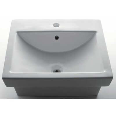 Porcelain Rectangular Vessel Bathroom Sink with Overflow