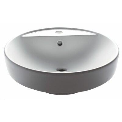Ceramic Basin Circular Vessel Bathroom Sink with Overflow
