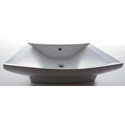 Porcelain Rectangular Vessel Bathroom Sink with Overflow