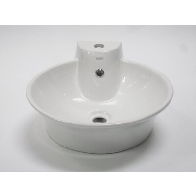 Above Mount Circular Vessel Bathroom Sink with Overflow