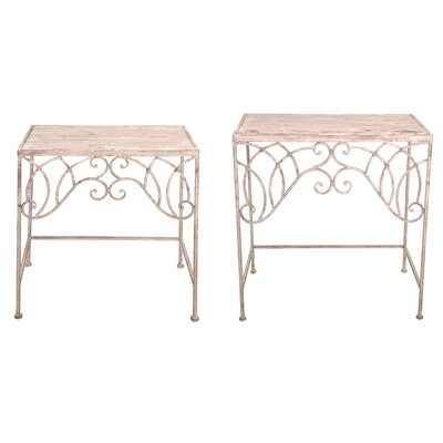 Aged Metal 2 Piece End Table Set