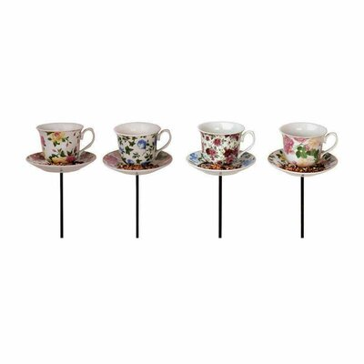 8 Piece Best for Birds Tea Cup with Saucer Decorative Bird Feeder Set FB241-SP