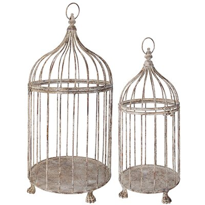 2 Piece Aged Metal Decorative Bird Cage Set