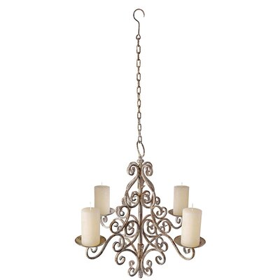 Aged Metal 4-Light Candle-Style Chandelier