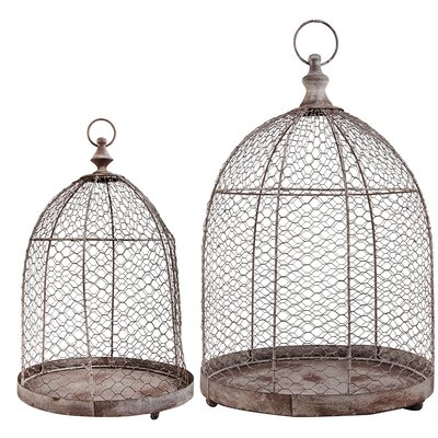 2 Piece Aged Metal Wire Cloche Set