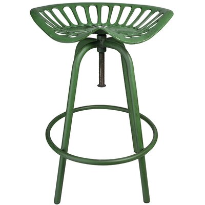 Industrial Heritage Adjustable Height Swivel Bar Stool Finish: Green