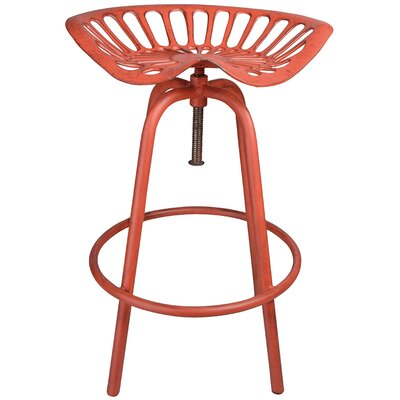 Industrial Heritage Adjustable Height Swivel Bar Stool Finish: Red