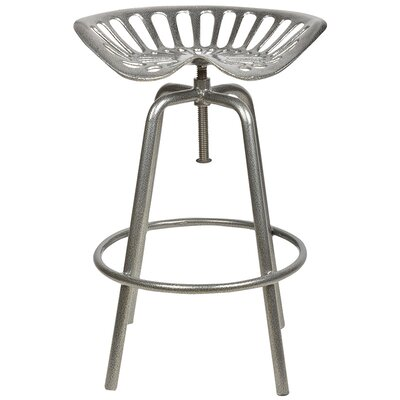 Industrial Heritage Adjustable Height Swivel Bar Stool Finish: Silver
