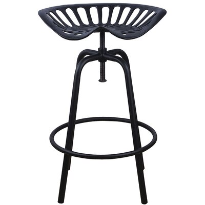 Industrial Heritage Adjustable Height Swivel Bar Stool Finish: Black