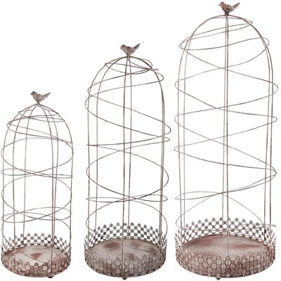 3 Piece Aged Metal Decorative Bird Cage Set