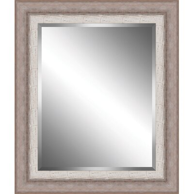 Ribbed Wood Framed Beveled Plate Glass Mirror Size: Large BPMWM8712-2024