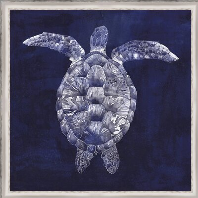 Coastal 'Custom Sea Turtle Shadow I (ASH)' Framed Graphic Art