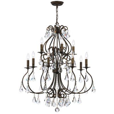 Shaughnessy 12-Light Crystal Chandelier Finish: English Bronze