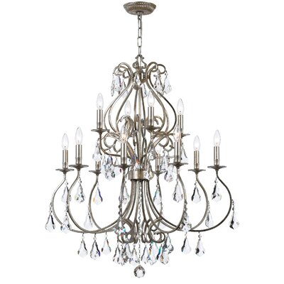 Shaughnessy 12-Light Crystal Chandelier Finish: Olde Silver