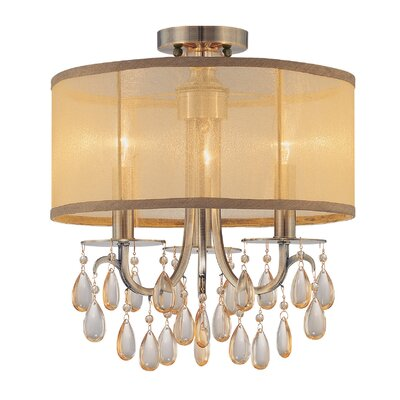 Aayush 3-Light Antique Brass Semi Flush Mount