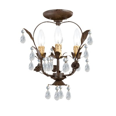Paris Flea Market 3-Light Semi Flush Mount Finish: Dark Rust
