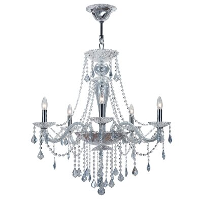 Simone 5-Light Crystal Chandelier Crystal Color: Blue