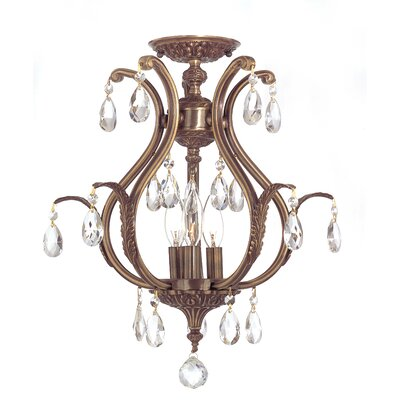 Dawson 3-Light Semi Flush Mount Finish: Antique Brass, Crystal Grade: Clear