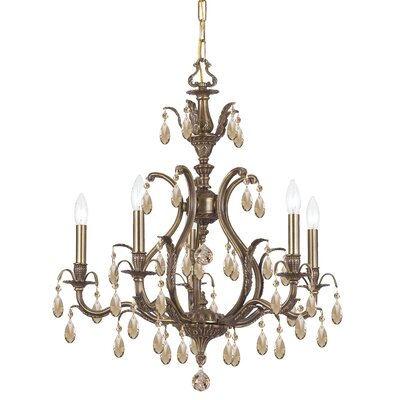 Dawson 5-Light Crystal Chandelier Crystal Type: Golden Teak Hand Polished, Finish: Antique Brass